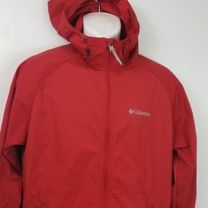 Mens Columbia light weight hooded jacket sz M red